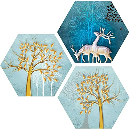 Saumic Craft Set of 3 Hexagon Beautiful Reindeer And Trees Senery UV Textured Self adhesive Painting With A Special Present Inside [17X17 Inch]