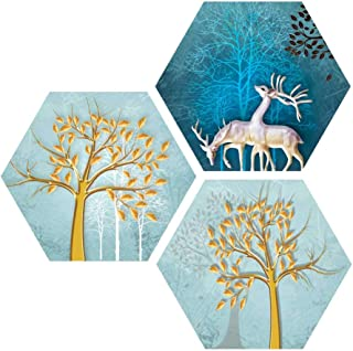 Saumic Craft Set of 3 Hexagon Beautiful Reindeer And Trees Senery UV Textured Self adhesive Painting With A Special Presen...
