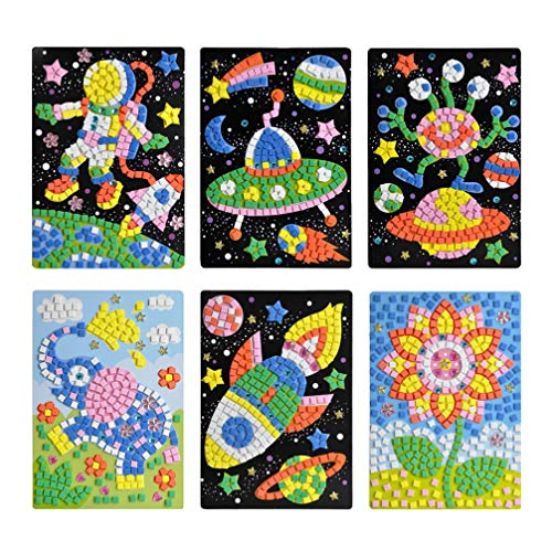 Toyvian 6 Piezas niños DIY Mosaico Pegatinas Creativo Dibujos Animados eva Mosaico Pegatina Manualidades educativas Juguetes