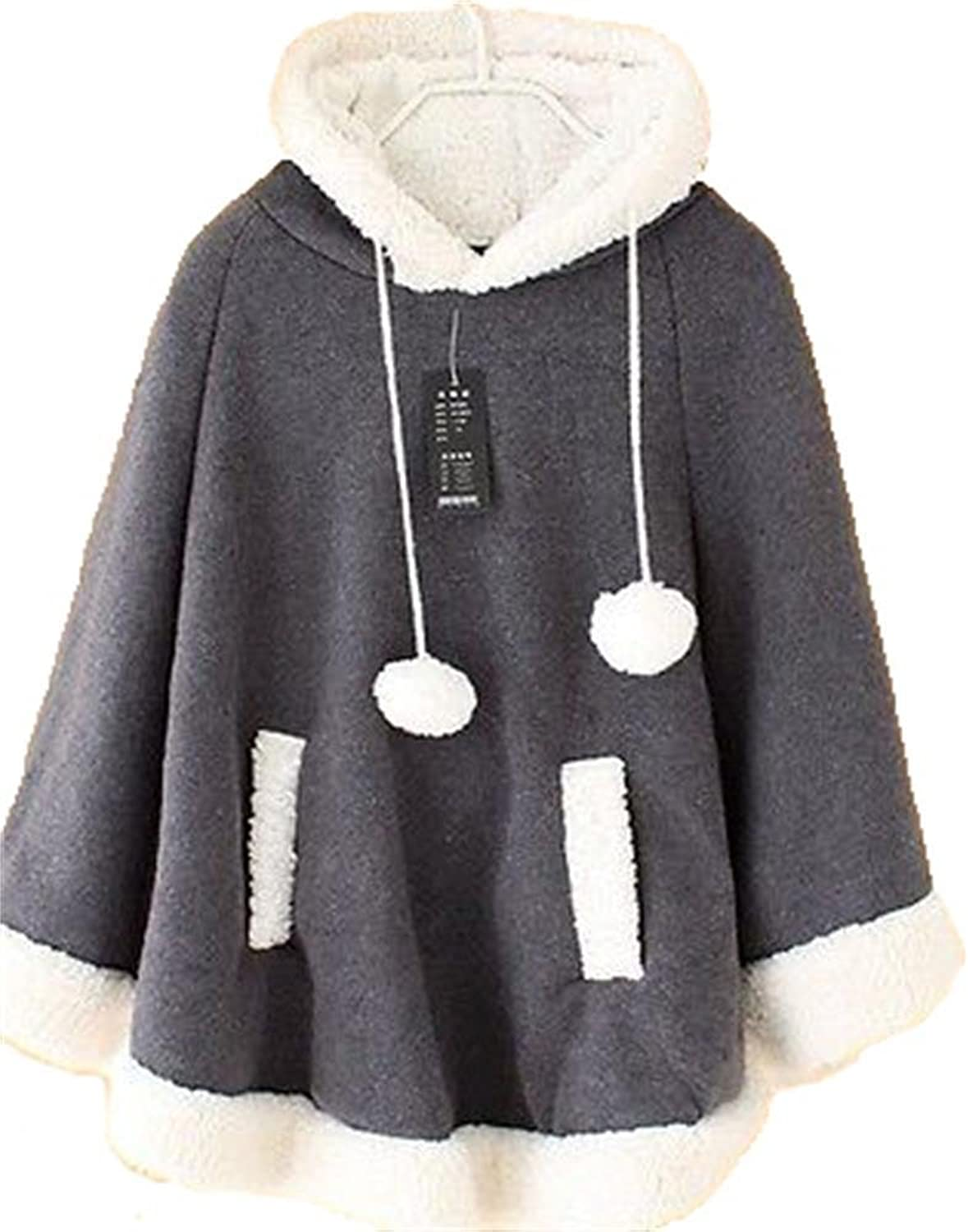 Angel&Lily Grey Women jersey fleece Cape Hoodie COAT LS337 PLUS 4X
