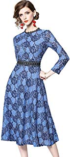 Women's Elegant O-Neck 3/4 Sleeve Floral Lace Swing Midi Party Evening Dress