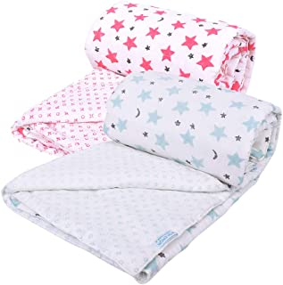Mom's Home Organic Cotton Super Soft Summer AC Baby Quilt Blanket Cum Bedspread - 0-3 Years - 110 * 120 Cms - Pack of 2 - Star Blue and Pink