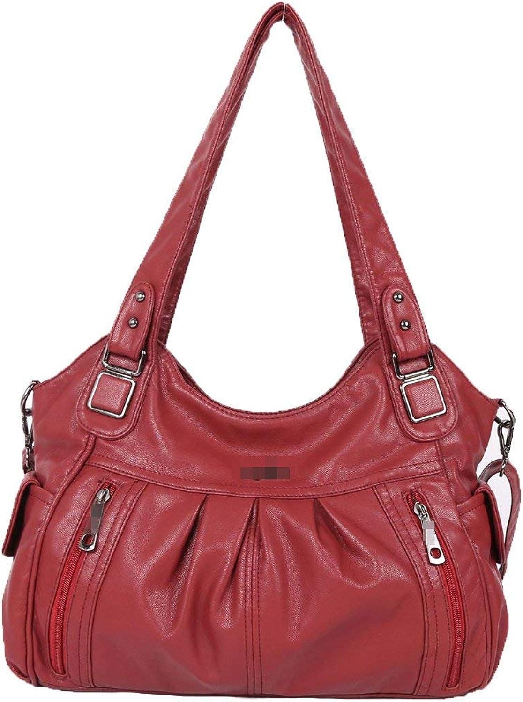 Huasen Evening Bag Women Fashion Large Pu Leather Shoulder Bag Crossbody Bag Satchel Tote Bag Multicolor Party Handbag (color   Red, Size   Medium)