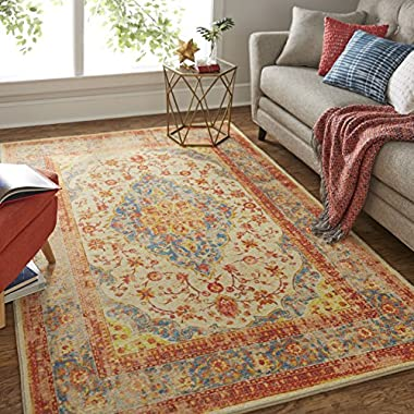Mohawk Home Prismatic Bellepoint Denim Floral Distressed Precision Printed Area Rug, 8'x10', Multicolor