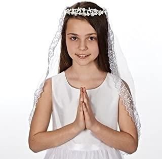 Pearlescent Bead Encrusted Communion Tiara with 26 Inch Lace Trim Veil; Style Kate