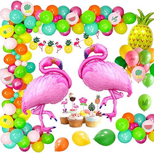 MMTX Hawaii Beach Party Dekoration, Flamingo Sommer Ananas Helium Ballon, Kranz Banner und Dschungel Luau Hawai Tropical Beach Pool Thema Foto Requisiten Sommer Geburtstag Baby Shower Supplies