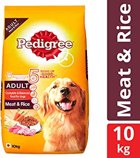 Pedigree Adult Dry Dog Food Food, Meat and Rice, 10kg Pack