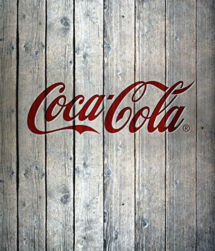 Wenko Glasrückwand Coca-Cola Wood Spritzschutz, Gehärtetes Glas, Mehrfarbig, 70 x 60 x 0,1 cm