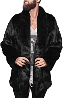 OMINA Mens Faux Fur Coat Jackets with Hood, 2019 Fashion Casual Winter Warm Windproof Fleece Fluffy Slim Fit Cardigan
