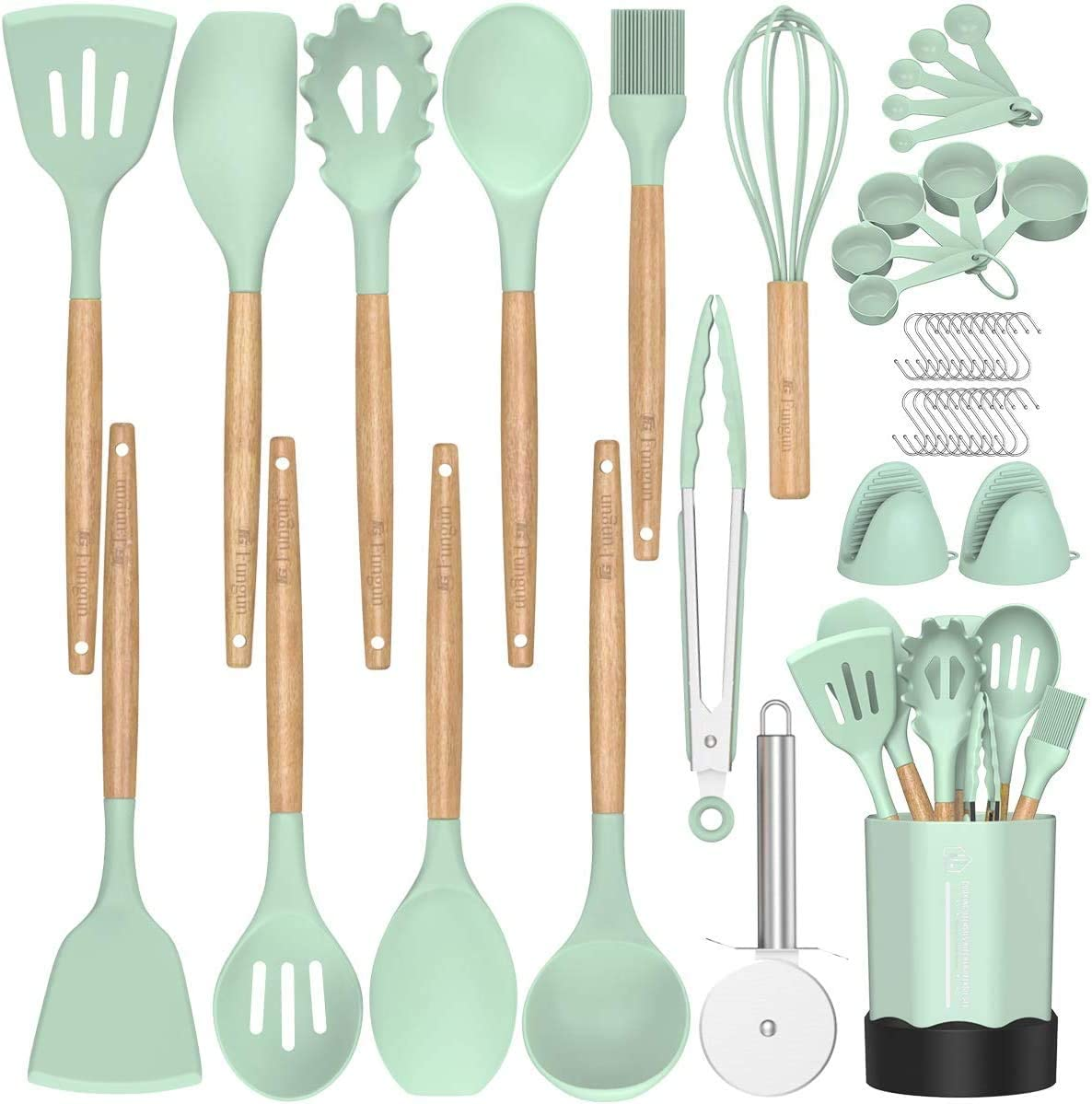 BPA Free Non Toxic Cooking Utensils Silicone Kitchen Cooking Utensil Set Black Kitchen Tools Gift Fungun 26 Pcs Kitchen Utensils Spatula Set with Utensil Holder for Nonstick Cookware