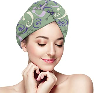 Topsy Turvy Green Hair Towel Wrap Turban with Button, Quick Dry -Super Absorbent for Long & Curly Hair, Anti-Frizz -Bath Artifact for Women Girls Mom Daughter