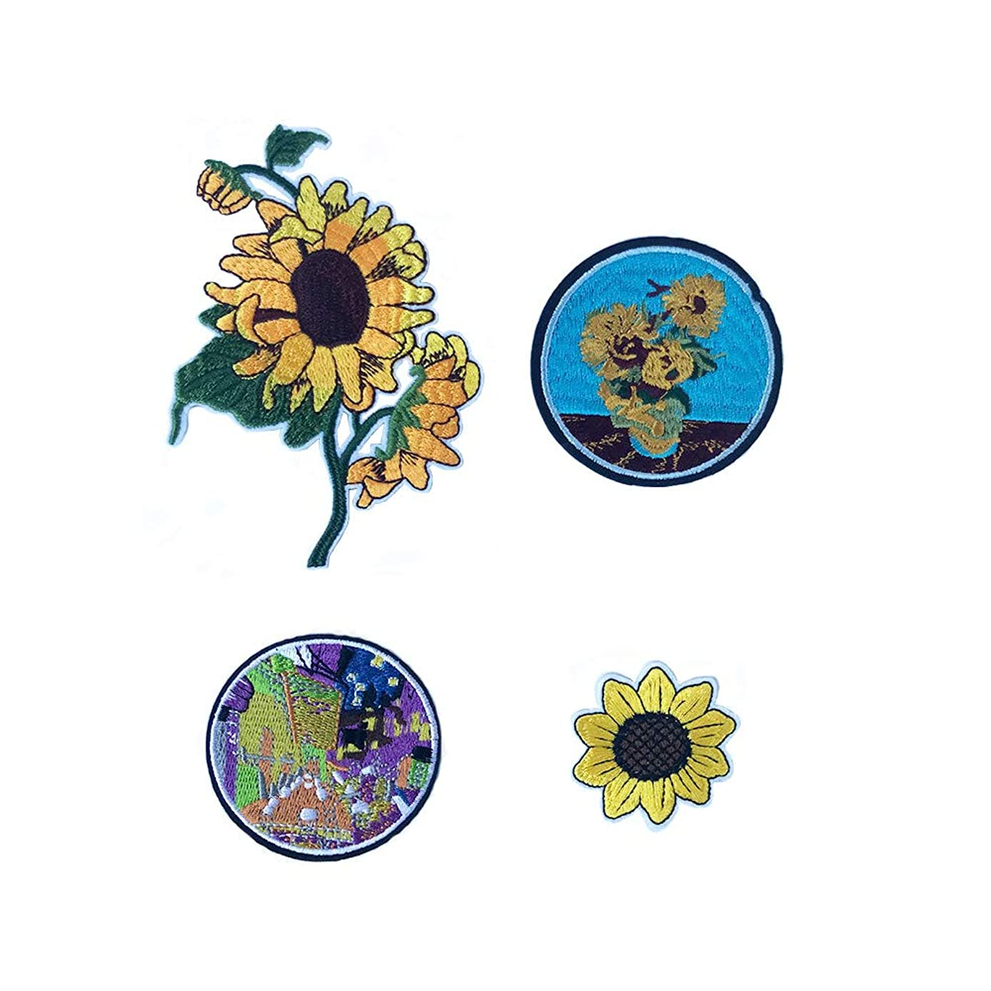 Mystart Set of 4 Pieces Van Gogh Sunflower Embroidered Iron On Patches Appliques for Clothing Jacket Jeans