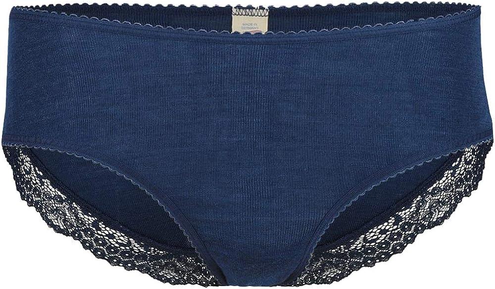 Women's Thermal Panties Briefs: Moisture Wicking Merino Wool Silk with Lace Detail