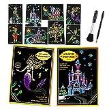 GLCS GLAUCUS 2 Pack 8Pcs Scratch Art para Niños y Adultos Paper Art Rainbow Cuento Hadas Scratch & Sketch Cards Set Scratchboard Arte para Rascar Black Scratch Paper Manualidades Kit - Sirena+Castillo