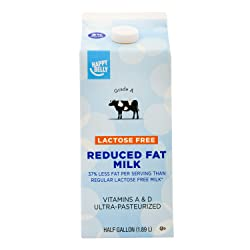 Amazon Brand - Happy Belly Lactose Free 2% Reduced Fat Milk, Ultra-Pasteurized, Kosher, Half Gallon,