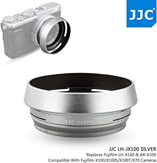 JJC Aluminum Lens Hood Shade Protector with 49mm Filter Adapter Ring for Fujifilm Fuji X100F X100T X100S X100 X70 Replaces Fujifilm LH-X100 Lens Hood & AR-X100 Filter Adapter Ring/Silver