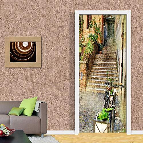 BXZGDJY 3D-deurstick, zelfklevende achtergrondafbeelding, retro street view, ladder, pvc, afneembare deurfilm, doe-het-zelfklevend, bloemen, woonkamer, slaapkamer, kinderen, restaurant, kantoor, bar, deur, kunst decoratie 86x200cm