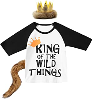 Baby Boy Birthday Long Sleeves Top King of The Wild Things Costume Shirt with Crown and Tail