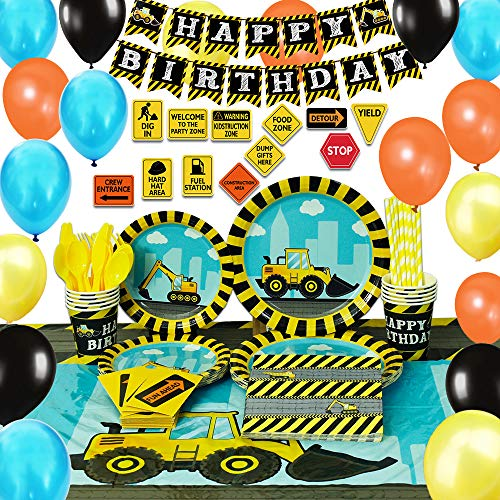 WERNNSAI Konstruktion Partyzubehör Set - 181 Stück Party Favors für Jungs Geburtstag Party Deko Besteckbeutel Zeichen Tischtuch Servietten Teller Tassen Utensilien Banner Ballons 16 Gäste