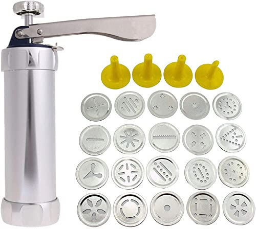 2019 Cookie Press Stainless Steel Biscuit Press Cookie Gun Set with 20 Discs and 4 Icing Tips product image