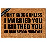Msimplism.D Funny Doormat for Indoor Outdoor - Don't Knock Unless I Married You Birthed You Or Ordered Food from You Entrance Floor Mat Non Slip Mats 23.6 in(L) by 15.7 in(W) Brown