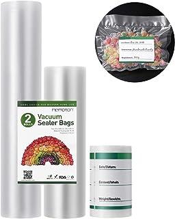 Hemoton 2 rollos de bolsas selladoras al vacío, 28 x 500 cm y 20 x 500 cm en relieve, bolsas de almacenamiento de alimentos con 100 etiquetas adhesivas en blanco para todos los selladores al vacío