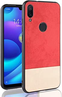 XSB Xiaomi Redmi Note 7用の耐衝撃カラーマッチングデニムPC PU TPUケース (色 : Red)