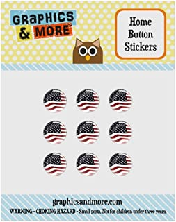 Set of 9 Puffy Bubble Home Button Stickers Fit Apple iPod Touch, iPad Air Mini, iPhone 4/4s 5/5c/5s 6/6s Plus - America USA Flag July 4th - US American Flag Waving United States USA