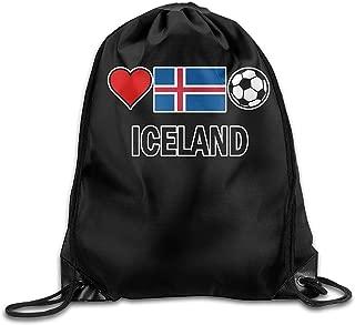 Iceland Football Soccer-1 Drawstring Backpack Beam Mouth School Travel Backpack Rucksack Shoulder Bags For Men/Women