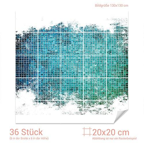 GRAZDesign Fliesensticker Küche Mosaik - Bad Fliesen Aufkleber Muster - Fliesenbilder Küche Türkis - Fliesenaufkleber glänzend/Fliesenmaß: 20x20cm (BxH) / 768108_20x20_130