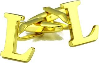Aooaz Cuff Links Studs Letter L Dress Shirt for Cufflinks Gold