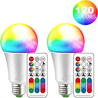 iLC Color Changing LED Light Bulb A19 E26 Screw, 120 Colors 10W Dimmable Warm White 2700K RGB LED Light Bulbs with Remote Control, 60 Watt Equivalent (Pack of 2)