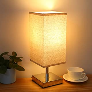 Touch Control Table Lamp with 2 LED Bulbs, Aooshine Minimalist Modern Accent Lamp Dimmable Touch Sensor Light with Square Lamp Shade Night Light Nightstand Lamp for Bedroom(Bulb Included)