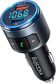 VicTsing (Upgraded Version) V5.0 Bluetooth FM Transmitter for Car, QC3.0 & LED Backlit Wireless Bluetooth FM Radio Adapter Music Player /Car Kit with Hands-Free Calls, Siri Google Assistant