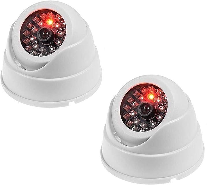 JZK 2 X Cámaras de Simulada Maniquí Falsa de vigilancia CCTV Dome con LED Parpadeante imitación Real para la Seguridad casera