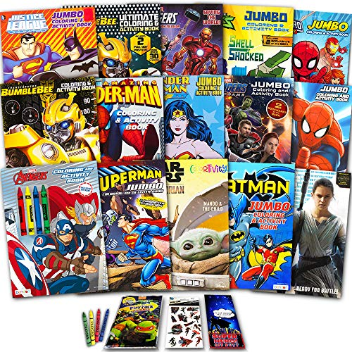 Superhero Ultimate Coloring Book Assortment ~ 15 Books Featuring Avengers, Spiderman, Justice League, Superman, Star Wars Mandalorian, and More (Includes Stickers)