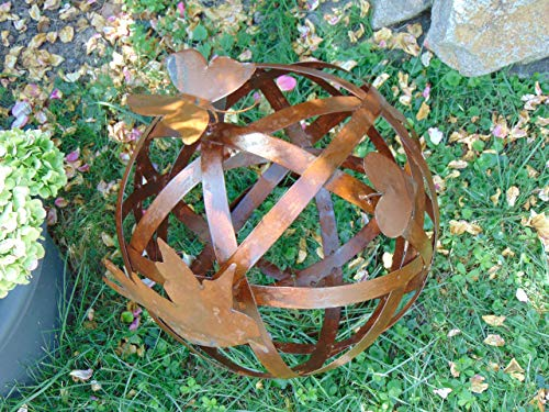 Edelrost Kugel D: 40 cm mit Schmetterling, Vogel und Herz - Rost-Kugel Metall-Kugel