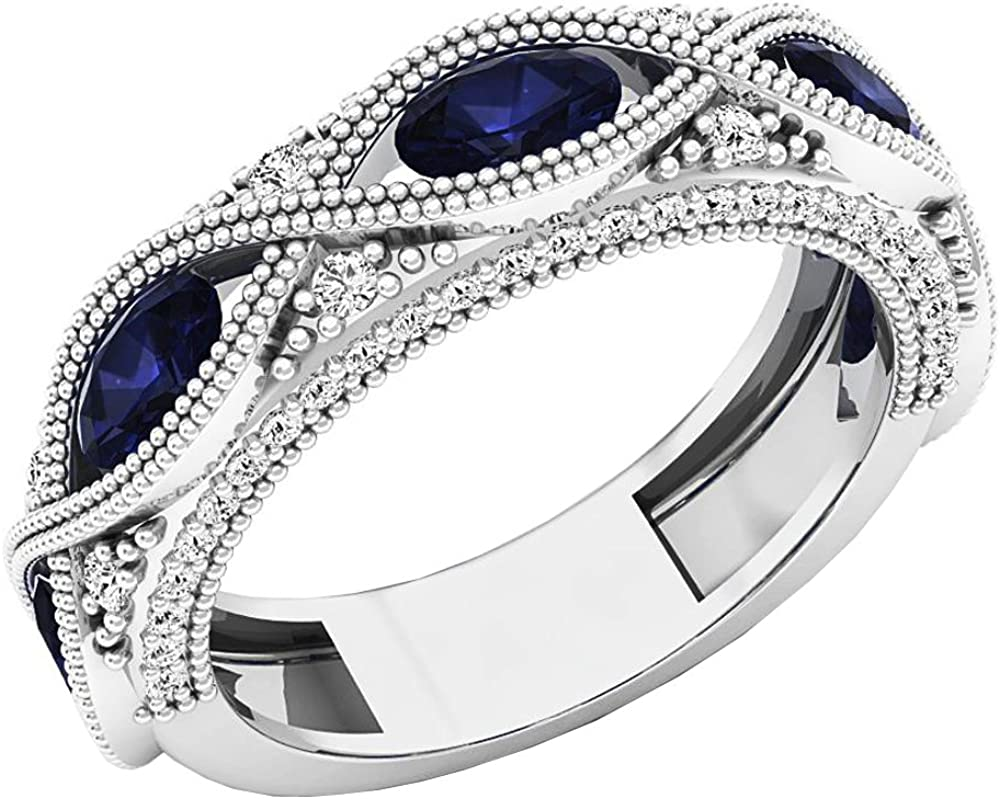 Dazzlingrock Collection 14K Gold 5X3 MM Each Oval Blue Sapphire & Round White Diamond Ladies Stackable Wedding Band
