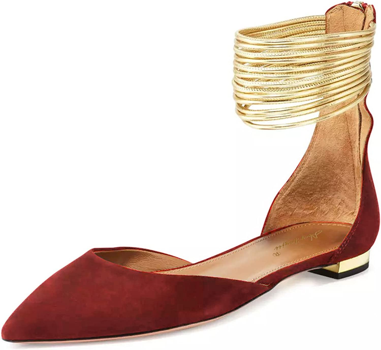 NJ Womens Pointed Toe Faux Suede D'Orsay Flats Ankle Strap Casual Dress shoes with Zips