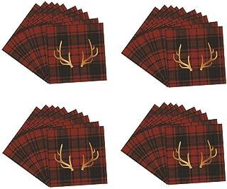 KIG Exclusives Lodge Red Buffalo Check Gold Stag Deer Antler Reindeer Napkin 40 Ct
