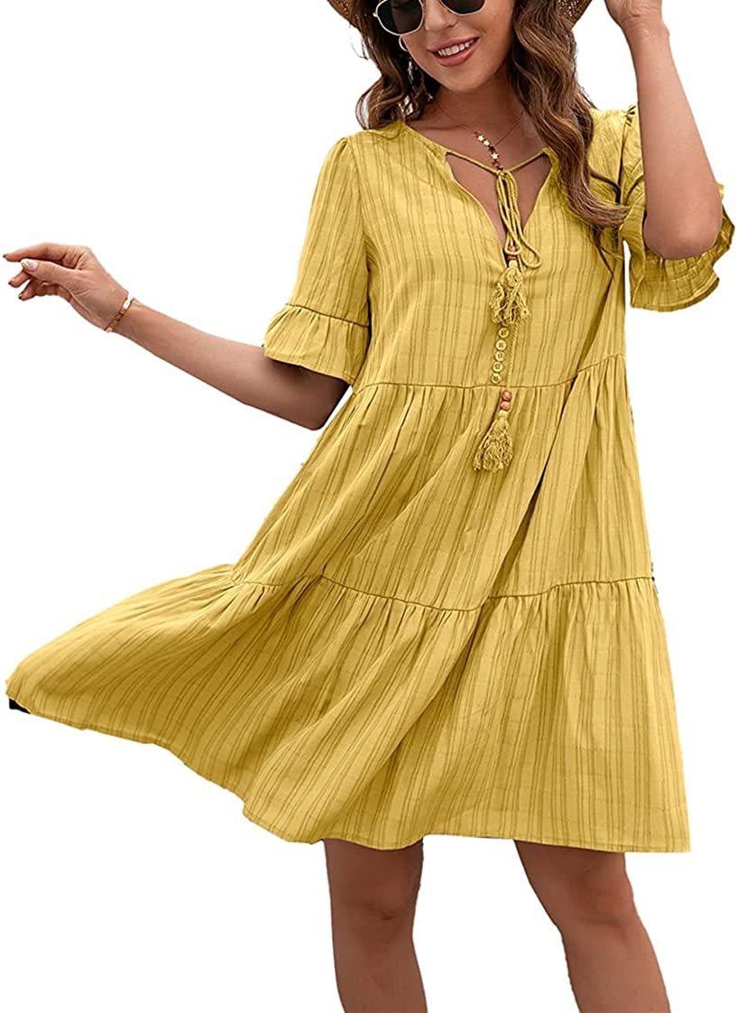 KELLOGG Women Casual Short Sleeve Dress Summer V Neck Loose Flowy Swing Shift Dresses