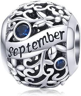 Birthstone Charms 925 Sterling Silver Bead Happy Birthday Charm for Pandora Bracelet Necklace