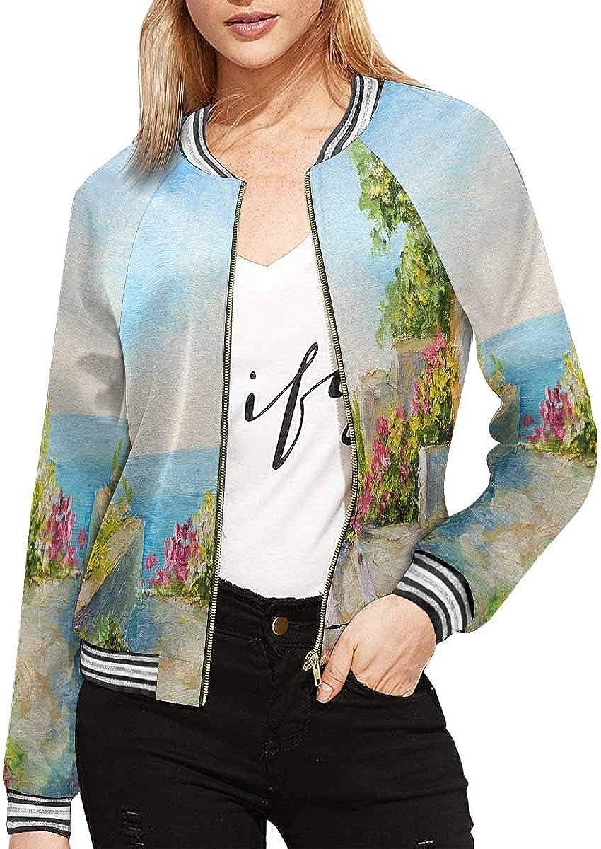 InterestPrint Women's Love in Paris Efel, Eiffel Tower Jacket Long Sleeve Zipper