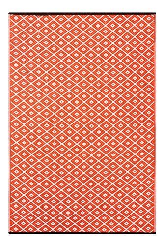 """Green Decore """"Arabian Nights Alfombra Ecológica para Interiores y Exteriores de Plástico Reciclado - Ligera y Reversible - Indoor/Outdoo, 120 x 180 cm, Zanahoria/Naranja"""