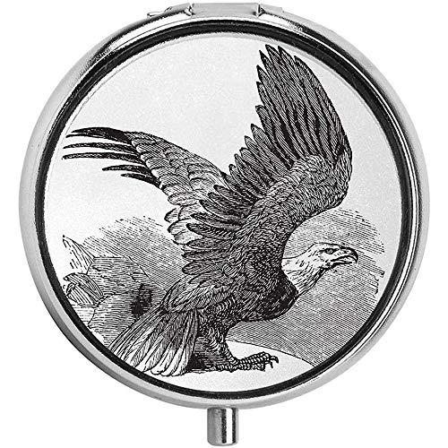 Hand getekend symbool van de Verenigde Staten Noord-Amerikaanse inheemse dier vrijheid vogel mode ronde pil doos portemonnee Organizer Case