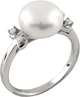 Bella Pearls Sterling Silver Freshwater Pearl and Cubic Zirconia Ring