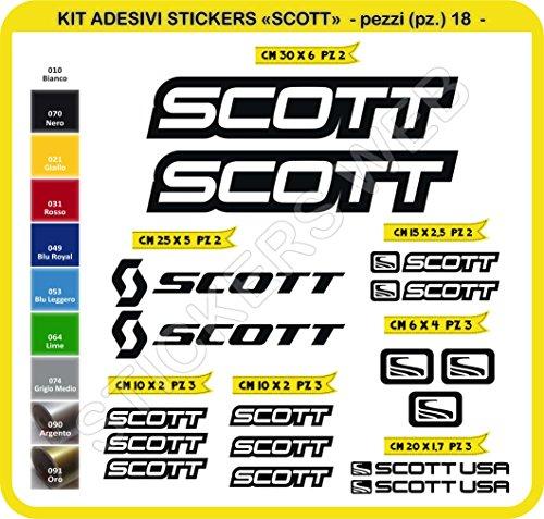 Adesivi Bici Scott Kit Adesivi Stickers 18 Pezzi -Scegli SUBITO Colore- Bike Cycle pegatina cod.0112 (Nero cod. 070)
