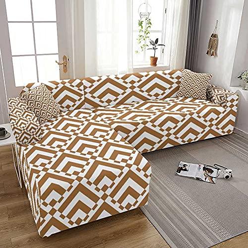 WXQY Funda de sofá elástica con Estampado geométrico para Sala de Estar Spandex en Forma de L Chaise Longue Fundas para sofá Fundas para sillones A3 2 plazas