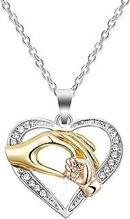 Regali di compleanno per la mamma, CNNIK Collana di amore mano di bambino mano nella mano ciondolo collana in oro rosa arg...