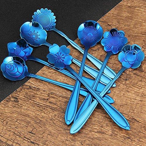 TOOGOO Flower Spoon Set,Stainless Steel Teaspoon Colorful Coffee Spoon Tea Spoon Mixing Spoon Sugar Spoon, Set of 8, Blue
